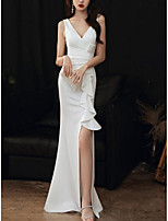 cheap -Mermaid / Trumpet Minimalist Elegant Wedding Guest Formal Evening Dress V Neck Sleeveless Floor Length Stretch Fabric with Ruffles Split 2021
