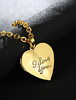 cheap -Pendant Necklace Lockets Necklace Women's Geometrical Gold Plated Heart Fashion Lovely Wedding Silver Gold 55 cm Necklace Jewelry 1pc for Christmas Wedding Gift Daily Work Geometric