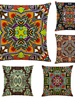 cheap -5 pcs Linen Pillow Cover, Floral&Plants Simple Modern Square Zipper Traditional Classic
