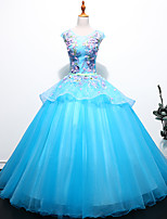 cheap -Ball Gown Peplum Floral Quinceanera Prom Dress Jewel Neck Sleeveless Floor Length Tulle with Pleats Embroidery 2021
