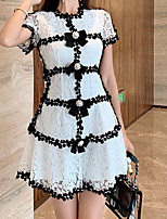 cheap -A-Line Minimalist Elegant Homecoming Cocktail Party Dress Jewel Neck Short Sleeve Short / Mini Lace with Bow(s) Lace Insert 2021