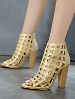 cheap -Women's Sandals Chunky Heel Peep Toe Booties Ankle Boots Microfiber Solid Colored Gold Silver / Booties / Ankle Boots