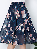 cheap -Women's Date Weekend Streetwear Sophisticated Skirts Graphic Floral Pleated Print White Black Blue
