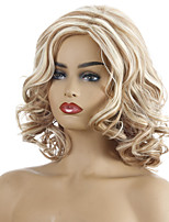 cheap -Synthetic Wig Curly Asymmetrical Middle Part Wig Short Light Blonde Synthetic Hair Women's Cosplay Party Fashion Blonde