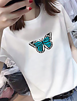 cheap -Women's Tee / T-shirt Pure Color Crew Neck Spandex Butterfly Sport Athleisure Top Short Sleeves Breathable Soft Comfortable Everyday Use Casual Daily Outdoor