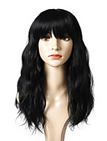 cheap -Synthetic Wig Curly Glamorous & Dramatic Neat Bang Wig Medium Length Black Synthetic Hair Women's Party Fashion Comfy Black
