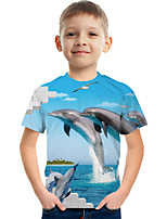 cheap -Kids Boys' Tee Short Sleeve Graphic Animal Children Tops Active Blue