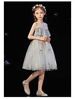cheap -Princess / Ball Gown Round Knee Length Tulle Junior Bridesmaid Dress with Ruffles / Appliques