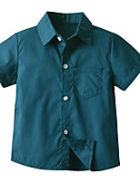 cheap -Kids Boys' Shirt Short Sleeve Solid Colored Children Children's Day Tops Basic Green 2-3 Y