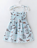 cheap -Kids Little Girls' Dress Floral Cartoon Animal Holiday Drawstring Print Blue Blushing Pink Knee-length Sleeveless Sweet Dresses Regular Fit 2-9 Years