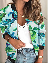 cheap -Women's Animal Patterned Print Active Spring &  Fall Jacket Regular Daily Long Sleeve Air Layer Fabric Coat Tops Green