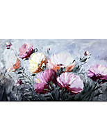 cheap -Oil Painting Hand Painted Horizontal Abstract Floral / Botanical Modern Stretched Canvas