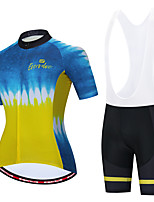 cheap -Women's Short Sleeve Cycling Jersey with Shorts Blue+Yellow Bike Sports Patterned Clothing Apparel / Athleisure