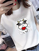 cheap -Women's Tee / T-shirt Pure Color Crew Neck Spandex Animal Patterned Heart Sport Athleisure Top Short Sleeves Breathable Soft Comfortable Everyday Use Casual Daily Outdoor