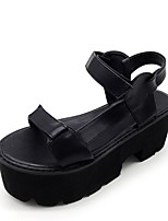 cheap -Women's Sandals Chunky Heel Round Toe Nubuck Solid Colored Black
