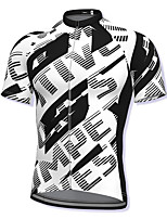 cheap -21Grams Men's Short Sleeve Cycling Jersey Spandex Black+White Bike Top Mountain Bike MTB Road Bike Cycling Breathable Quick Dry Sports Clothing Apparel / Athleisure