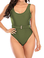 cheap -Women's One Piece Swimsuit Swimwear Bodysuit Breathable Quick Dry Sleeveless Swimming Surfing Water Sports Solid Colored Summer