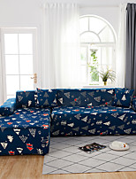 cheap -Navy Blue Christmas Print Dustproof All-powerful Slipcovers Stretch L Shape Sofa Cover Super Soft Fabric Couch Cover with One Free Pillow Case