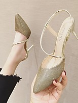 cheap -Women's Sandals Pumps Pointed Toe Rubber Sequin Solid Colored Black Gold Silver