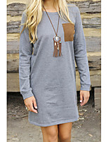 cheap -Women's Shift Dress Short Mini Dress Gray Long Sleeve Solid Color Pocket Patchwork Fall Spring Round Neck Casual 2021 S M L XL XXL