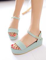 cheap -Women's Sandals Platform Open Toe Microfiber Buckle Solid Colored Almond Purple Blue