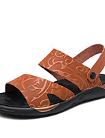 cheap -Men's Sandals Beach Roman Shoes Daily Outdoor Nappa Leather Breathable Non-slipping Wear Proof Black Brown Spring Summer
