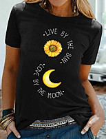 cheap -Women's T shirt Graphic Floral Letter Print Round Neck Tops 100% Cotton Basic Basic Top White Black