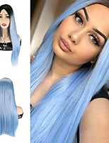 cheap -Synthetic Wig Straight Silky Straight Middle Part Wig 26 inch Black / Blue Synthetic Hair 26 inch Women's Cosplay Party African American Wig Blue