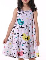 cheap -Kids Little Girls' Dress Graphic Print Beige Knee-length Sleeveless Flower Active Dresses Summer Regular Fit 5-12 Years