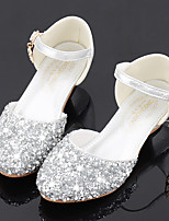 cheap -Girls' Heels Flower Girl Shoes Princess Shoes School Shoes Rubber PU Little Kids(4-7ys) Big Kids(7years +) Daily Party & Evening Walking Shoes Rhinestone Sparkling Glitter Buckle Silver Fall Spring