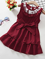 cheap -Kids Toddler Little Girls' Dress Solid Colored Bow Red Knee-length Sleeveless Active Dresses Summer Regular Fit 2-8 Years
