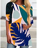 cheap -Women's T Shirt Dress Tee Dress Short Mini Dress Blue Short Sleeve Print Print Spring Summer Round Neck Casual 2021 S M L XL XXL 3XL
