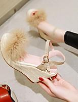 cheap -Women's Sandals Wedge Heel Round Toe PU Synthetics Red Beige Gray