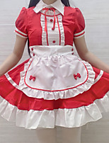 cheap -Lolita Cute Dress Women's Japanese Cosplay Costumes Red Solid Colored Above Knee / Apron