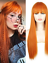 cheap -Long Straight Synthetic Wigs Orange Color Women cosplays Wig 30 Inches Central Part Hair Silver Grey White Red Colour