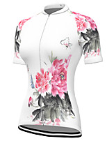 cheap -21Grams Women's Short Sleeve Cycling Jersey Spandex White Floral Botanical Bike Top Mountain Bike MTB Road Bike Cycling Breathable Sports Clothing Apparel / Stretchy / Athleisure