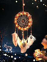 cheap -LED Boho Dream Catcher Handmade Gift Wall Hanging Decor Art Ornament Craft Rattan Feather Lead 50*15cm for Kids Bedroom Wedding Festival