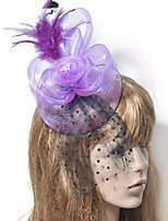 cheap -Classic Vintage Inspired Tulle / Feathers Fascinators with Feather / Floral / Polka Dot 1 Piece Special Occasion / Party / Evening Headpiece