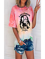 cheap -Women's T shirt Tie Dye Portrait Round Neck Tops Basic Basic Top Blue Purple Blushing Pink