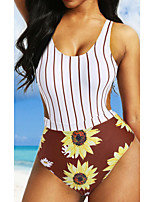 cheap -Women's One Piece Romper Swimsuit Push Up Print Floral White Swimwear Camisole Padded Bathing Suits New Casual Sexy