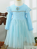 cheap -Kids Little Girls' Dress Solid Colored Mesh Blue Blushing Pink Midi Long Sleeve Cute Dresses Fall Summer Regular Fit