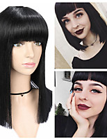 cheap -Synthetic Wig Natural Straight Neat Bang Wig Short Black Synthetic Hair Women's Party Fashion Comfy Black