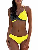 cheap -women's high waist two pieces bikini set padded stripe tassel swimsuit,halter tie back high waist triangle bikini set,tummy control swimsuit for women gray