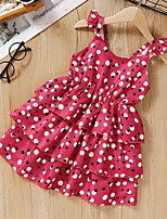 cheap -Kids Toddler Little Girls' Dress Polka Dot Sundress Ruffle Print Red Knee-length Sleeveless Active Dresses Summer Regular Fit 2-8 Years