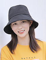cheap -Women's Fisherman Hat 1 PCS Outdoor Portable Sunscreen Breathable Soft Hat Solid Color Cotton Black Yellow Pink for Fishing Climbing Beach