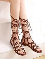 cheap -Women's Sandals Boho Bohemia Beach Roman Shoes Gladiator Sandals Chunky Heel Round Toe PU Synthetics Black Khaki Brown