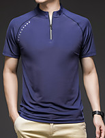 cheap -Men's T shirt Hiking Tee shirt Hiking Polo Shirt Short Sleeve Square Neck Tee Tshirt Top Outdoor Quick Dry Lightweight Breathable Sweat wicking Autumn / Fall Spring Summer POLY Solid Color Dark Grey