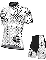 cheap -Men's Short Sleeve Cycling Jersey with Shorts Spandex White Bike Breathable Quick Dry Sports Graphic Mountain Bike MTB Road Bike Cycling Clothing Apparel / Stretchy / Athletic / Athleisure