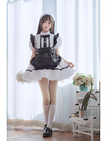 cheap -Lolita Cute Dress Women's Japanese Cosplay Costumes Black Solid Color Above Knee / Apron