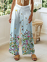 cheap -Women's Basic Chino Comfort Casual Going out Pants Pants Butterfly Flower / Floral Short Elastic Drawstring Design Print Light Blue